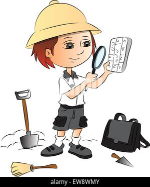 Vector illustration of boy using magnifying glass at construction site. - Stock Photo