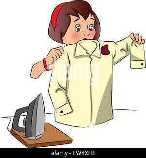 Vector illustration of shocked woman looking shirt burnt while ironing.. - Stock Photo