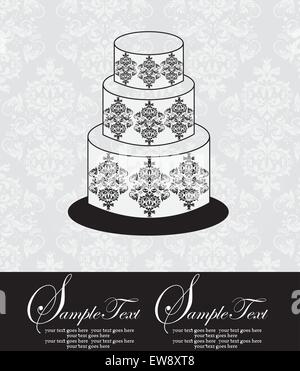 Vintage invitation card with ornate elegant abstract floral design, black and white on gray with three-layer cake. - Stock Photo