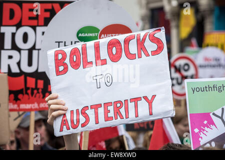 London, UK. 20th June, 2015. 'End Austerity Now' Mass Protest Demonstration Credit:  Guy Corbishley/Alamy Live News - Stock Photo