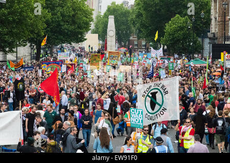 London, UK. 20th June 2015. Thousands of people converge on the streets of London to join the People's Assembly - Stock Photo