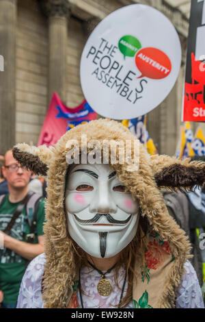London, UK. 20th June, 2015. An anti austerity march draws a huge crowd starting at Bank and heading to a rally - Stock Photo