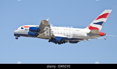 British Airways Airbus a380 G-XLEH departing London-Heathrow Airport LHR - Stock Photo