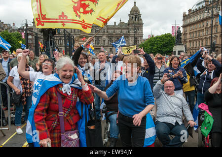 Glasgow, Scotland. 20th June, 2015. Anti-austerity demonstation held in Glasgow to coincide with The People's Assembly - Stock Photo
