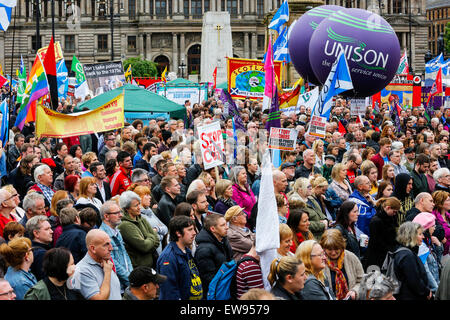 Glasgow, UK. 20th June, 2015. More than 2000 people attended an anti- austerity rally in George Square, Glasgow, - Stock Photo