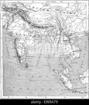 Old engraved illustration of map of India and Indochina. Dictionary of words and things - Larive and Fleury ? 1895 - Stock Photo