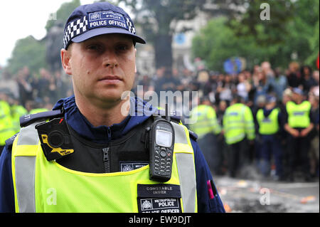 London, UK. 20th June, 2015. Thousands of protestors attend a march against the austerity policies under the new - Stock Photo