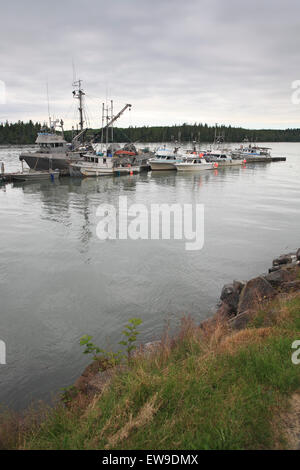 Commercial fishing boats, seiners, and gillnetters, tied up at wharf, Port Edward, Prince Rupert, British Columbia - Stock Photo