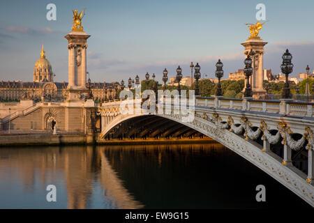 Dawn over River Seine, Pont Alexandre III and Hotel des Invalides, Paris, France