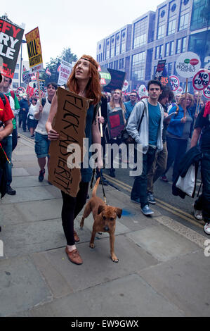 Anti-austerity march through central london June 20th 2014 - Stock Photo