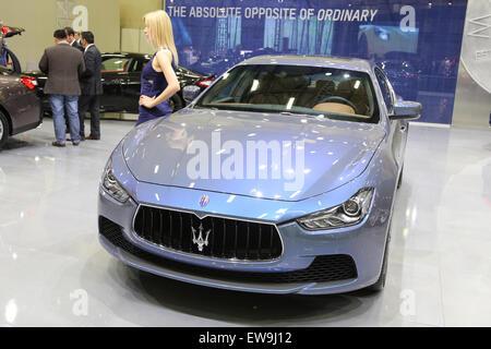 ISTANBUL, TURKEY - MAY 21, 2015: Maserati Ghibli Ermenegildo Zegna Edition in Istanbul Autoshow 2015 - Stock Photo