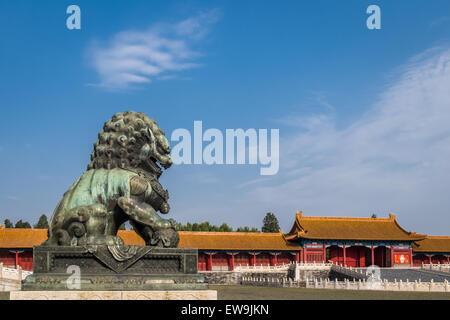 Bronze Guardian Lion in Forbidden City - Stock Photo