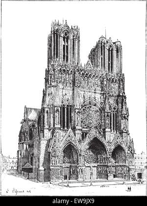 Cathedral of Reims, France, vintage engraved illustration. Dictionary of words and things - Larive and Fleury - - Stock Photo