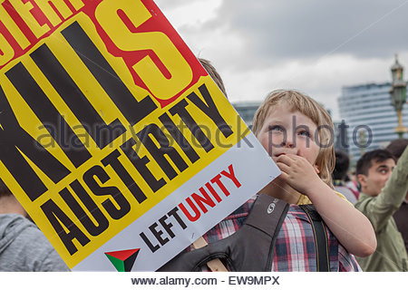 London, UK. 20th June, 2015. Tens of thousands of anti-austerity protesters massed outside Britain's parliament - Stock Photo
