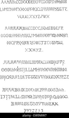 Fig. 5. Inscriptions, Alphabet in the fourteenth century (Gothic Rounded), vintage engraved illustration. Dictionary - Stock Photo