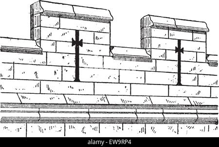 Merlon and Crenel, in Military Architecture, during the 15th Century, vintage engraved illustration. Dictionary - Stock Photo