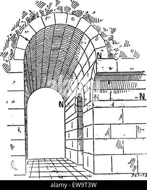 Birth, in Architecture, vintage engraved illustration. Dictionary of Words and Things - Larive and Fleury - 1895 - Stock Photo