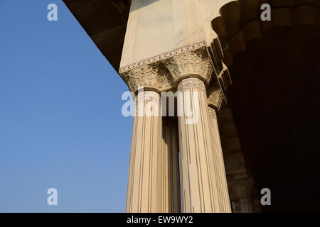 Marble Column Architecture Detail in Agra Fort India - Stock Photo
