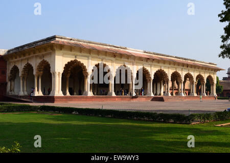 Diwan-I-Am or Hall of Public Audience Arch Architecture Building Agra Fort India - Stock Photo