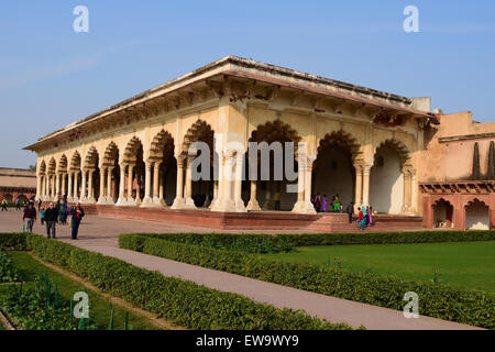 Agra fort inside beautiful buildings Diwan-I-Am or Hall of Public Audience Arch Architecture Building Agra Fort - Stock Photo