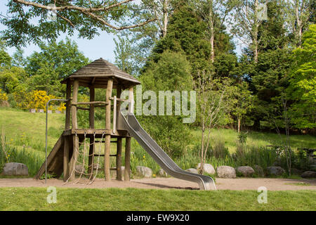 children's empty play area in natural surroundings - Balmaha, Loch Lomond and Trossachs National Park Visitor Centre, - Stock Photo