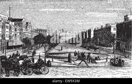 Tahrir Square (formerly Mohammed Ali Square and Place des Consuls), in Alexandria, Egypt. Scenic engraving. Old - Stock Photo