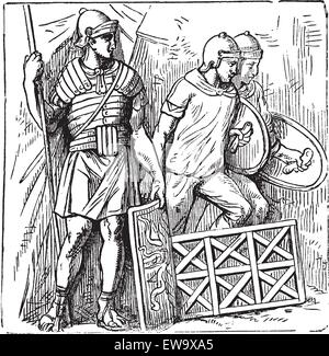 Roman armors and shield old engraving, based on the Trajan's Column. Vector, engraved illustration of roman soldier, - Stock Photo
