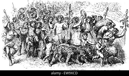 Bacchanalia, a wild and mystic festivals of the Greco-Roman god Bacchus vintage engraving. Old engraved illustration - Stock Photo