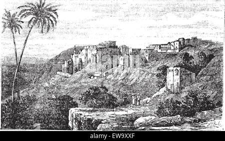 Bethlehem, city, Palestine, Israel, old engraved illustration of the city, Bethlehem, Palestine, Israel. - Stock Photo