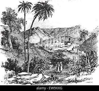 Bethany also known as Biblical village, old engraved illustration of the village, Bethany, Jerusalem - Stock Photo