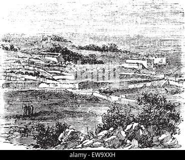 Bethel village, Jerusalem, old engraved illustration of the village, Bethel, Jerusalem in the 1890s - Stock Photo