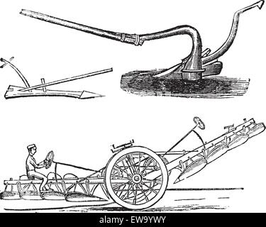 Plough, vintage engraving. Old engraved illustration of several types of Ploughs. - Stock Photo