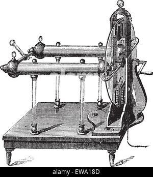 Electrostatic Generator by Jesse Ramsden, invented in 1768, vintage engraved illustration. Trousset encyclopedia - Stock Photo