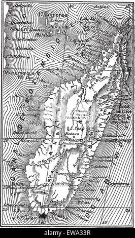 Map of Madagascar, during the 1890s, vintage engraving. Old engraved illustration of the Map of Madagascar. - Stock Photo