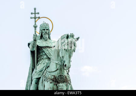 Bronze statue of King Stephen which stands outside Matthias Cathedral in Budapest, Hungary - Stock Photo