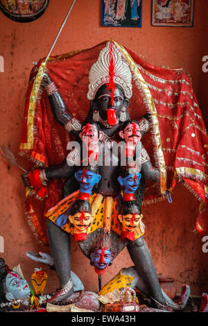 Kali goddess image at Laksminarayan temple, Rajgir, India. - Stock Photo