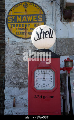 Old shell petrol pump, St Mawes, Cornwall, England, UK - Stock Photo