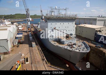 RFA Mounts Bay ship in dry dock, Falmouth, Cornwall, England, UK - Stock Photo