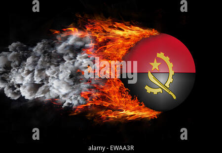 Concept of speed - Flag with a trail of fire and smoke - Angola - Stock Photo