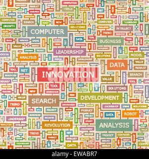 INNOVATION. Seamless pattern. Concept related words in tag cloud. Conceptual info-text graphic. Word collage. - Stock Photo