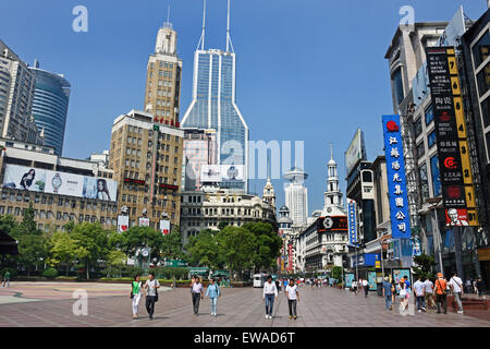 Visitors at Nanjing Road. Main shopping street of Shanghai. One of the busiest shopping streets in the world . East - Stock Photo