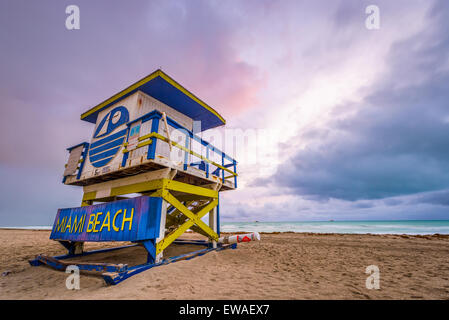 Miami Beach, Florida, USA life guard tower. - Stock Photo