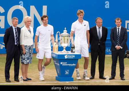 London, UK. 21st June, 2015. Queens Aegon Championship Tennis. Winner Andy Murrary (GBR) and runner up Kevin Anderson - Stock Photo