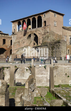 The House of the Knights of Rhodes in the Forum of Augustus Rome Italy - Stock Photo