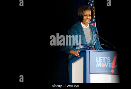 US First Lady Michelle Obama speaks on her initiative 'Let's Move' at Fairhill Elementary School in Philadelphia, - Stock Photo