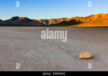 Sunrise at the Racetrack in Death Valley National Park in California, USA - Stock Photo