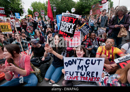 Tens of thousands march through London on anti-government Anti-Austerity protest through London 20 June 2014 - Stock Photo