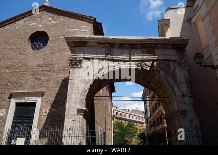 Triumphal Arch of Gallienus and the church of San Vito Rome Italy - Stock Photo