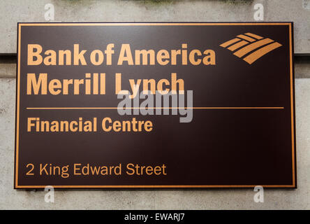 LONDON, UK - JUNE 7TH 2015: A sign on the Bank of America Merrill Lynch building located on King Edward Street in - Stock Photo