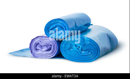Three rolls of plastic garbage bags rotated isolated on white background - Stock Photo